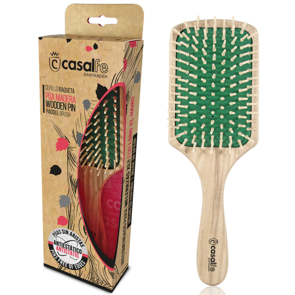 CUSHION PADDLE BRUSH WOODEN PIN